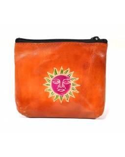 Peněženka na drobné, oranžová, slunce, ručně malovaná kůže, 10,5x8,5 cm