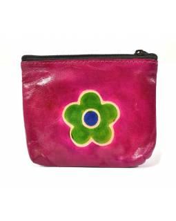 Peněženka na drobné, růžová, květina, ručně malovaná kůže, 10,5x8,5 cm