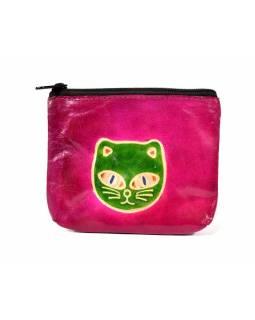 Peněženka na drobné, růžová, kočičí hlava, ručně malovaná kůže, 10,5x8,5 cm