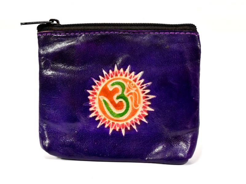 Peněženka na drobné, fialová, Óm, ručně malovaná kůže, 10,5x8,5 cm