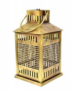 Kovová lucerna na čajovou svíčku, zlatá patina, 16x16x31cm