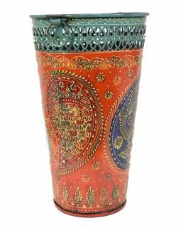Kovová váza, ručně malovaná, 19x19x31cm