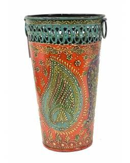 Kovová váza, ručně malovaná, 17x17x28cm