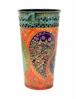 Kovová váza, ručně malovaná, 15x15x26cm