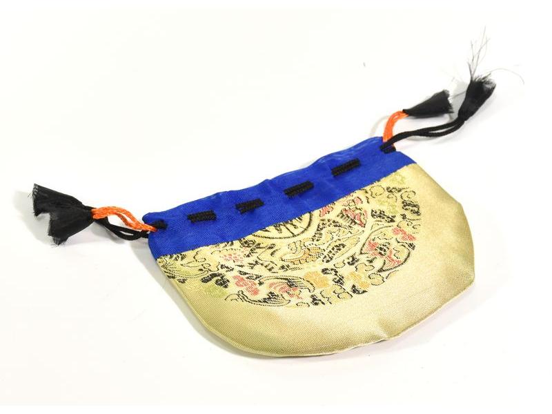 Sáček na malu, zlatá barva, zatahovací, art silk / bavlna bhutani