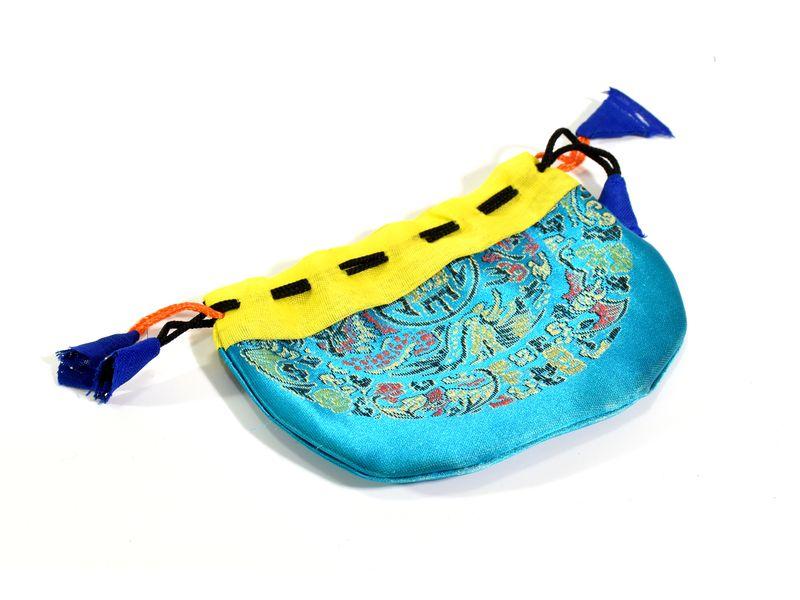 Sáček na malu, tyrkysový, zatahovací, art silk / bavlna bhutani