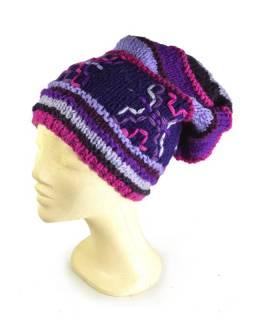 Čepice, dlouhá, fialová, výšivka, podšívka