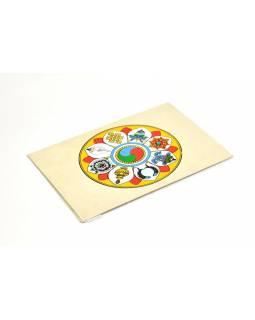 Přáníčko vyrobené z ručního papíru s obrázkem, osm cenností, 12x16cm