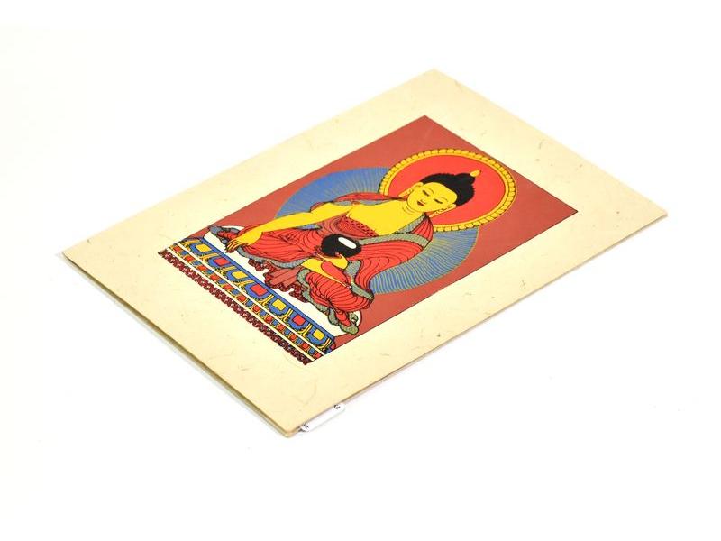 Přáníčko vyrobené z ručního papíru s obrázkem, Buddha Šakjamuni, 12x16cm