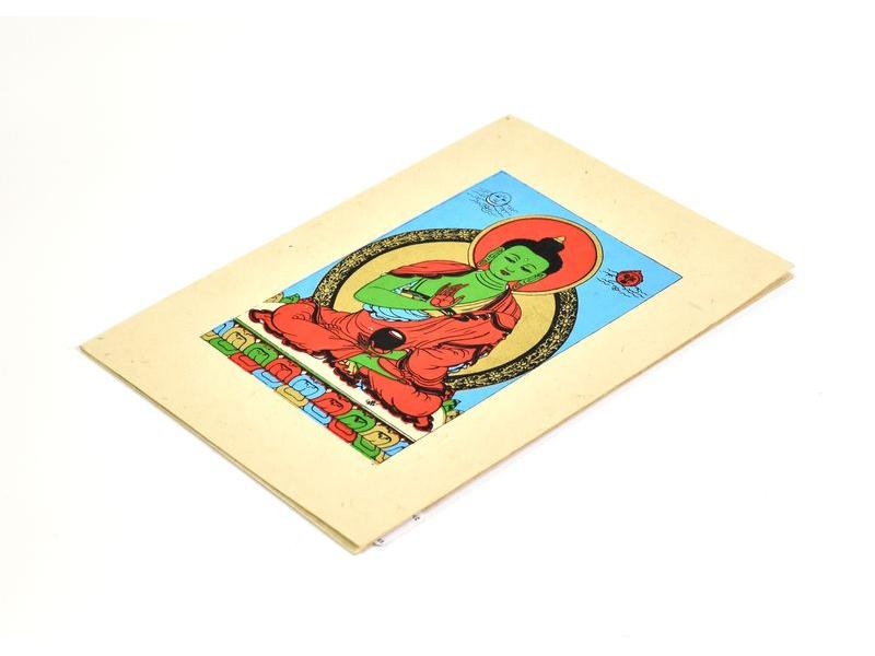 Přáníčko vyrobené z ručního papíru s obrázkem, Buddha Amogasiddhi, 12x16cm