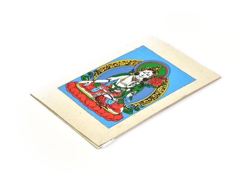Přáníčko vyrobené z ručního papíru s obrázkem, Bílá Tara, 12x16cm