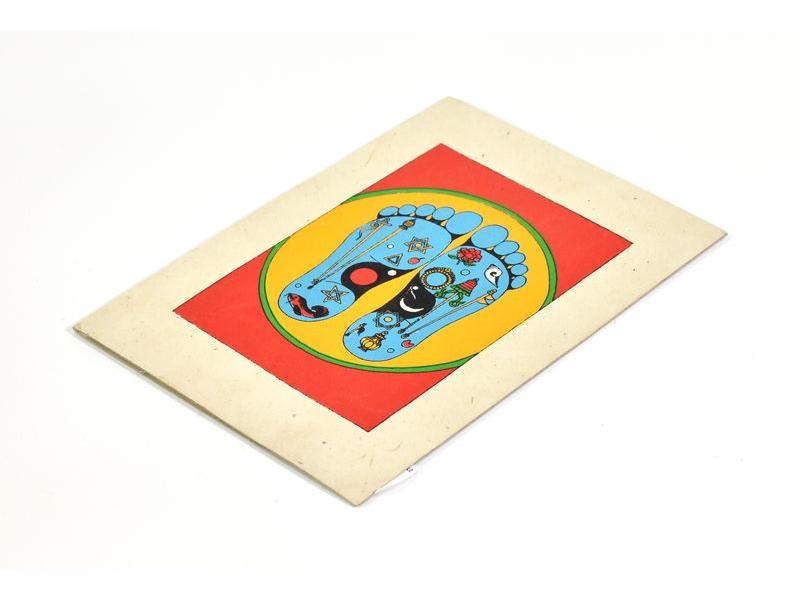 Přáníčko vyrobené z ručního papíru s obrázkem, Buddhovy stopy, 12x16cm