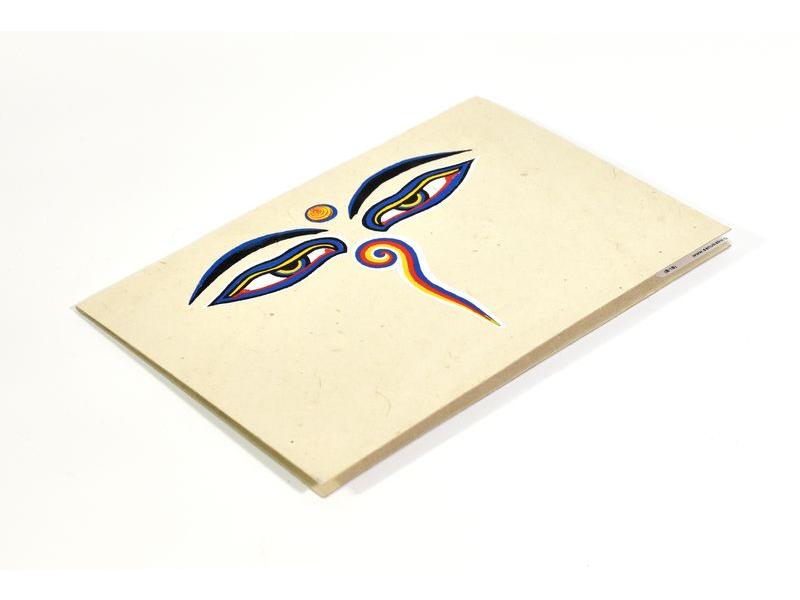 Přáníčko vyrobené z ručního papíru s obrázkem, Buddhovy oči, 12x16cm