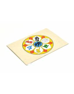 Přáníčko vyrobené z ručního papíru s obrázkem, mantra, 12x16cm