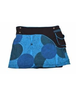 Krátká tyrkysová sukně zapínaná na patentky, kapsa, spiral print