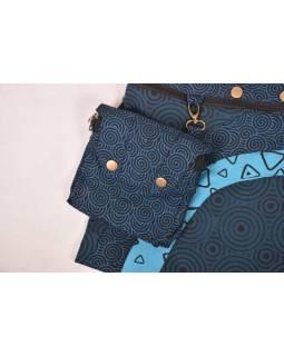Modrá minisukně na patentky s kapsičkou, potisk