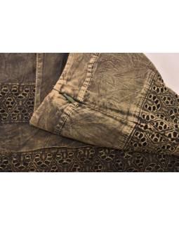 Krátká sukně  zapínaná na zip, khaki, stonewashed design