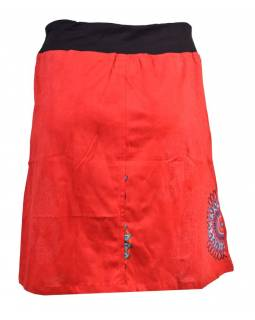 Krátká červená sukně s potiskem, elastický pas, šňůrka