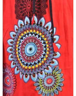 Tříčtvrteční červená sukně s potiskem, elastický pas, šňůrka