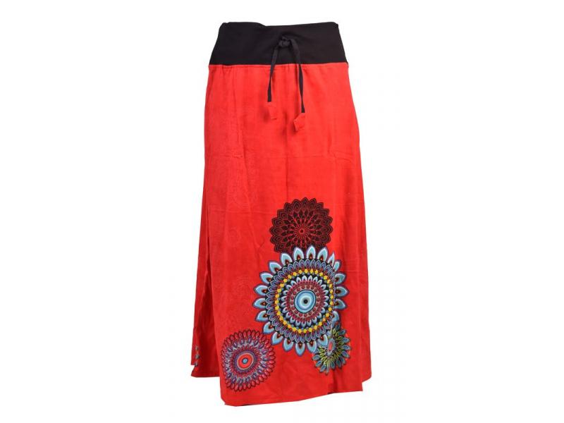 Dlouhá červená sukně s potiskem, elastický pas, šňůrka