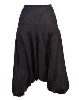 Unisex turecké kalhoty s potiskem mandaly, elastický pas, černá+stříbrná