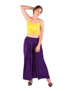 Dlouhé thajské kalhoty, fialové, pružný pas, výšivka