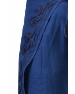 Dlouhé zavinovací kalhoty s výšivkou, modrá