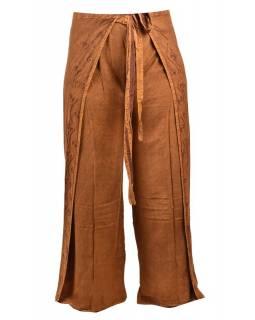 Dlouhé zavinovací kalhoty s výšivkou, hnědé