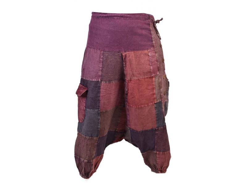 Unisex turecké kalhoty s kapsami a knoflíky, stonewashed design, hnědo-vínová