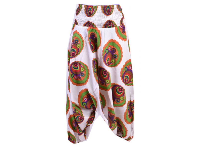 Bílé turecké kalhoty-overal-halena 3v1 barevná kolečka, žabičkování