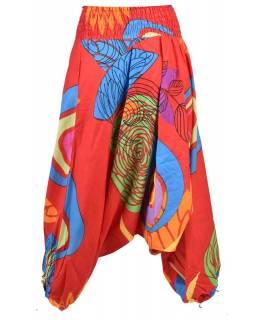 Červené turecké kalhoty-overal-halena 3v1 potisk listů a kruhů, žabičkování