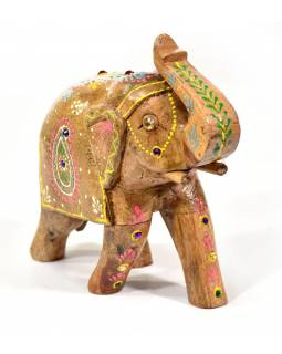 Slon, dřevěný, ručně malovaný, 17x17cm