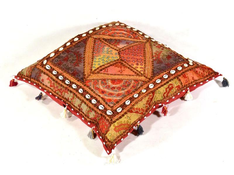 """Meditační polštář, """"Rajasthan Antik"""", zrcátka, mušličky, třásně, 60x60x20cm"""