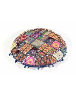 Tmavě modrý meditační polštář, ručně vyšívaný Kutch Design, kulatý, 75x25cm
