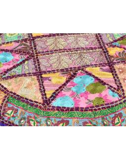Fialový meditační polštář, ručně vyšívaný Kutch Design, kulatý, 75x25cm