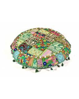 Zelený meditační polštář, ručně vyšívaný Kutch Design, kulatý, 75x25cm