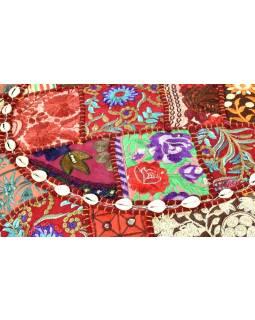 Vínový meditační polštář, ručně vyšívaný Kutch Design, kulatý, 60x20cm