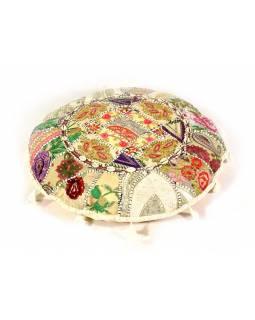 Bílý meditační polštář, ručně vyšívaný Kutch Design, kulatý, 60x20cm