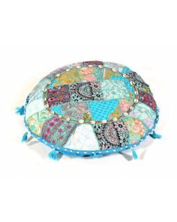 Modrý meditační polštář, ručně vyšívaný Kutch Design, kulatý, 60x20cm