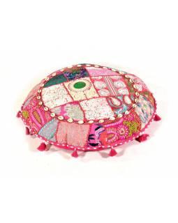 Růžový meditační polštář, ručně vyšívaný Kutch Design, kulatý, 60x20cm