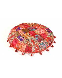 Červený meditační polštář, ručně vyšívaný Kutch Design, kulatý, 75x 25cm