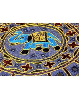 Meditační polštář, ručně vyšívaný Gujarat Elephant Design, kulatý 40x12cm