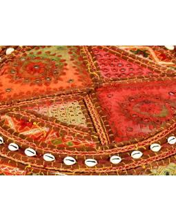 Kulatý meditační polštář z Rajastanu, patchwork, mušle, 60x20cm