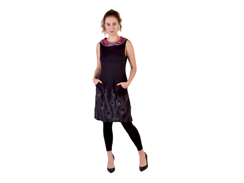 Černé šaty s límcem, bez rukávu, kapsy, potisk Peacock