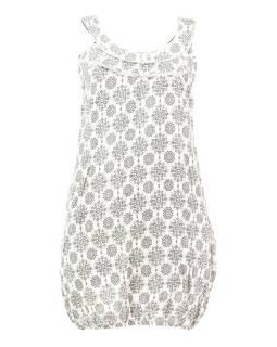 Elegantní balonové šaty bez rukávu, potisk, kapsy, bílo-šedivé