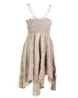 Krátké béžové šaty na ramínka, výšivka