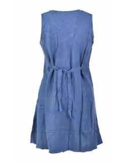 Krátké tmavě modré šaty bez rukávu, výšivka