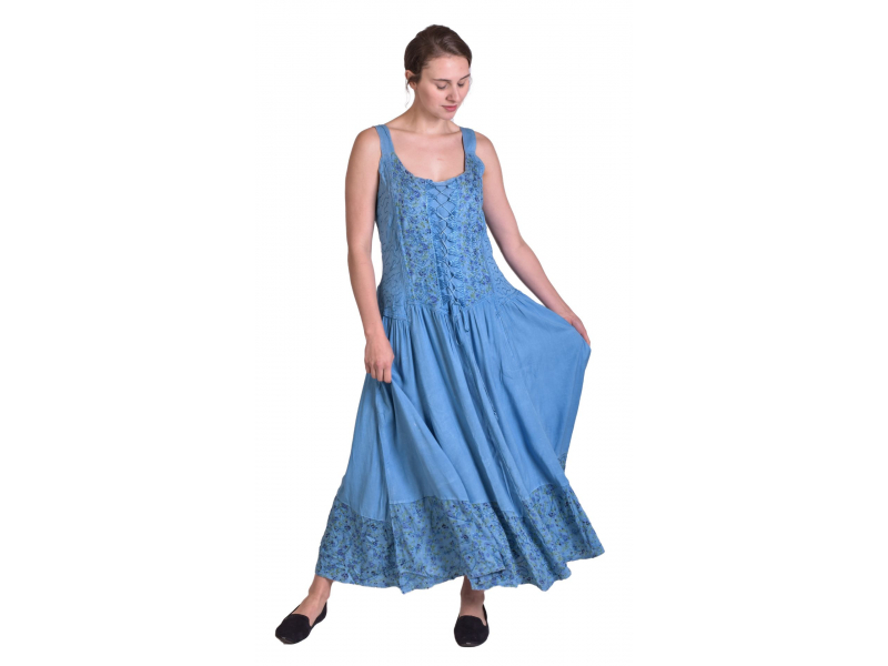 Dlouhé blankytně modré šaty na ramínka, potisk fialových kvítků, výšivka, šněrov