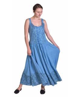 Dlouhé modré šaty na ramínka, výšivka a ruční práce