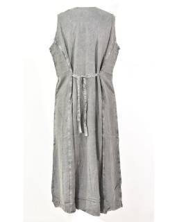 Dlouhé tmavě šedé šaty bez rukávu, výšivka